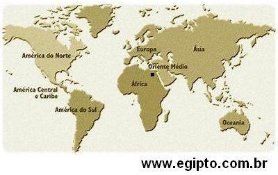 Localização do Egito. Mapa Continente Africano e Egipto. Fronteiras do Território Egipcio.